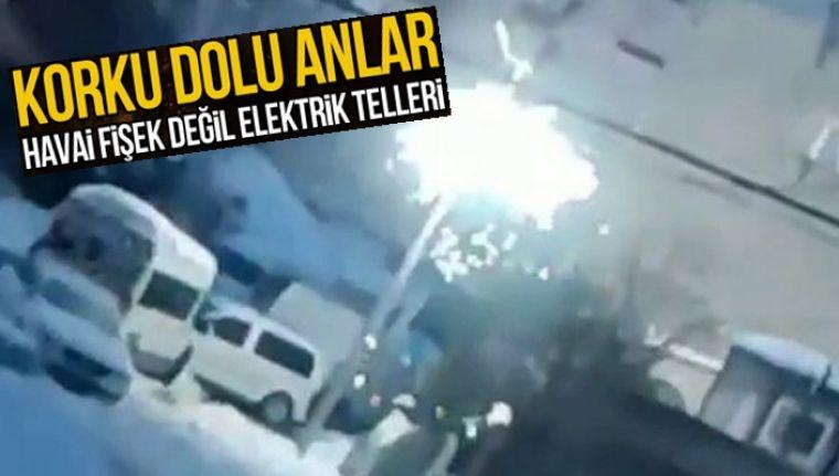 Arnavutköy'de elektrik telleri havai fişek gibi patladı