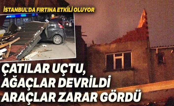 İstanbul'u fırtına vurdu: Çok sayıda evin çatısı uçtu