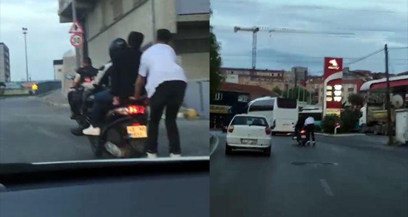 Gaziosmanpaşa'da patenli gençlerin tehlikeli yolculuğu