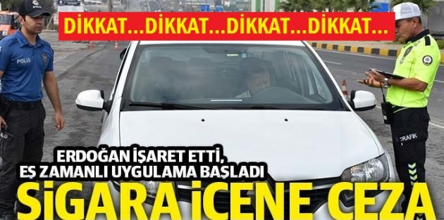 Araçta sigara içene para cezası