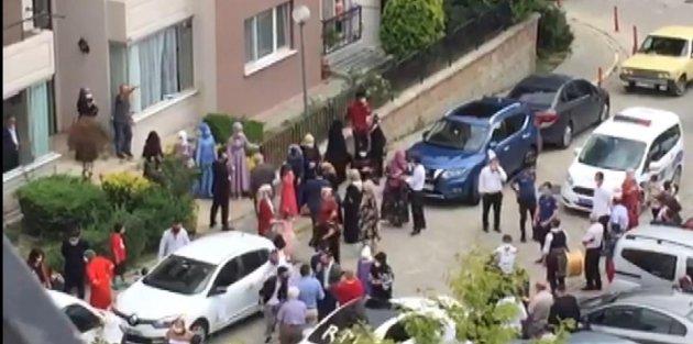 Arnavutköyde site içinde davullu zurnalı düğüne polis müdahalesi