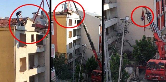 Arnavutköy'de vince bağlı iş makinasıyla tehlikeli yıkım