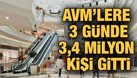 AVM'lere ilk üç günde 3.4 milyon kişi gitti!