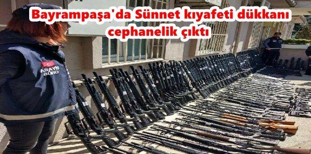 Bayrampaşa'da Sünnet kıyafeti dükkanı cephanelik çıktı
