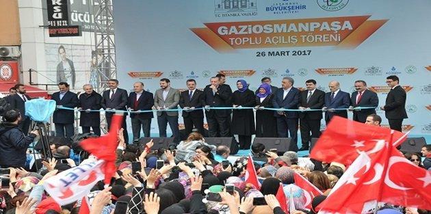 Cumhurbaşkanı Erdoğan Gaziosmanpaşada, 530 milyon TLlik 27 Eserin Açılışını Yaptı