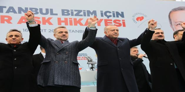 Cumhurbaşkanı Erdoğan Gaziosmanpaşada Coşkuyla Karşılandı