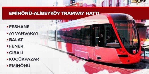 Eminönü-Alibeyköy Tramvay Hattı 1 Ocak'ta hizmete giriyor