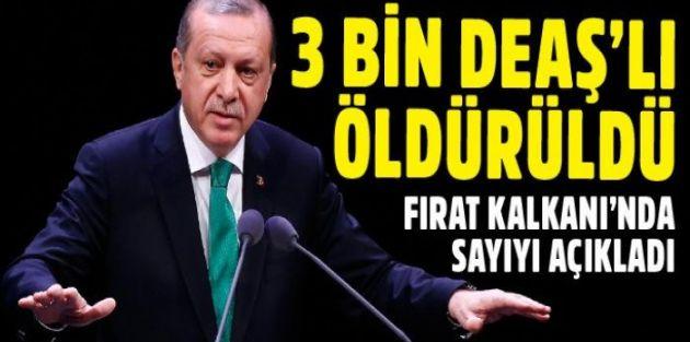 Erdoğan açıkladı: Tam 3 bin terörist...