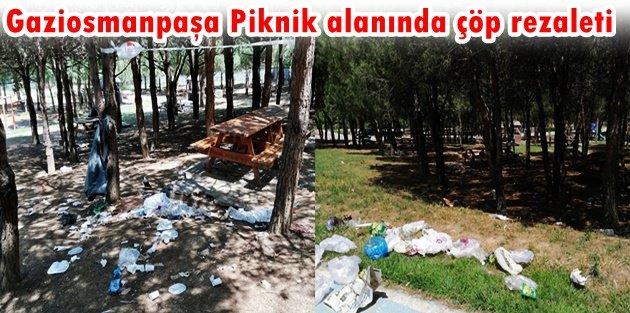 Gaziosmanpaşa Piknik alanında çöp rezaleti