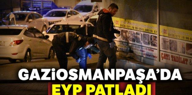 Gaziosmanpaşada EYP patladı, bir iş yerinin camları kırıldı