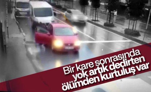 Gaziosmanpaşa'da kadın ölümden saniyelerle kurtuldu