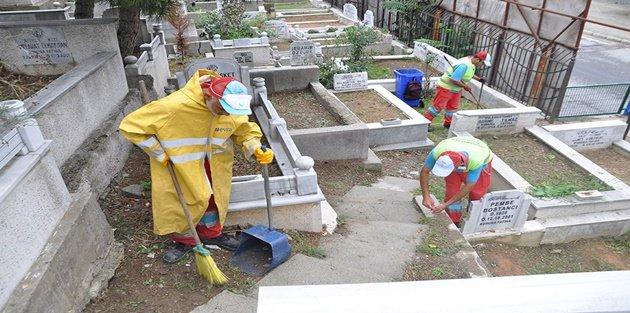 Gaziosmanpaşa'da Kurban Bayramı Öncesi Mezarlık Temizliği