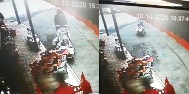 Gaziosmanpaşa'da market önündeki bebek arabası caddeye doğru kaydı