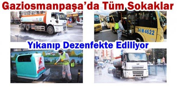 Gaziosmnapaşa'da  koronavirüse karşı caddeler dezenfekte edildi