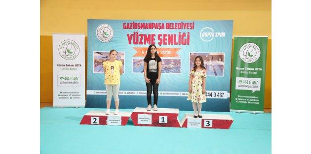 Gop'ta Yüzme Şenliği'nde Dereceye Giren Yüzücülere Madalyaları Verildi
