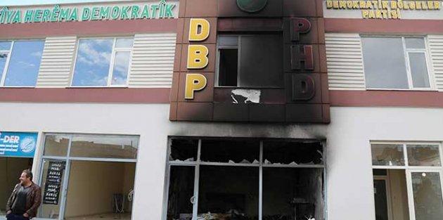 Halk, DBP Çınar ilçe binası yakıldı