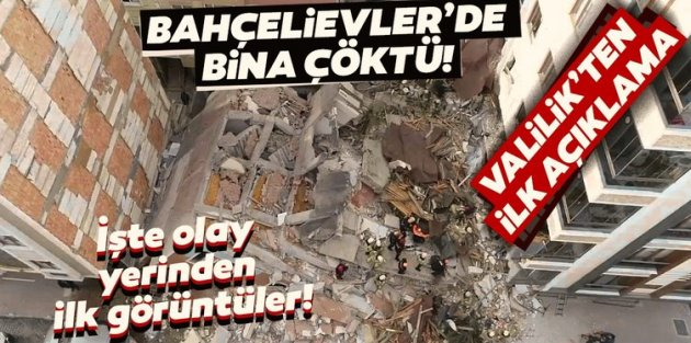 İstanbul'da bir bina çöktü