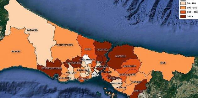 Konut aidatı düşük olan  Sultangazi, en yüksek olan ise Sarıyer'de
