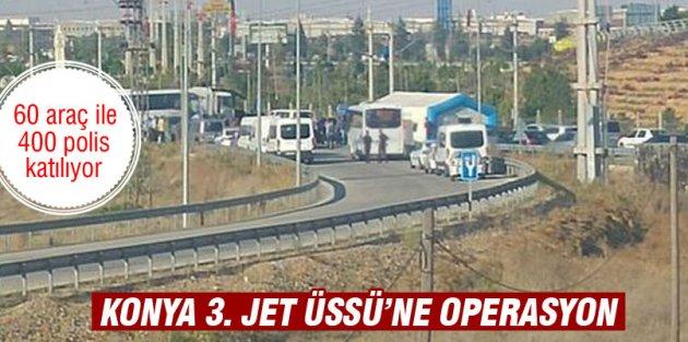 Konya'da çok sayıda polis 3. Ana Jet Üs Komutanlığına girdi