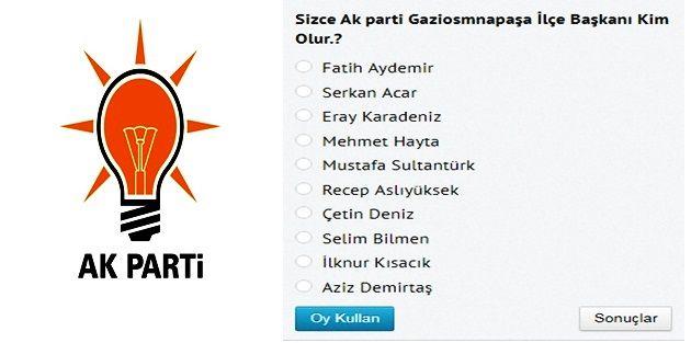 Sizce Ak parti Gaziosmanpaşa'da İlçe başkanı  kim olsun?