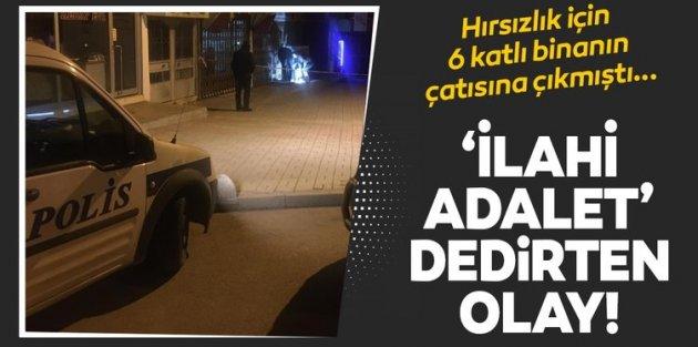 Sultangazi'de 6. kattan düşen hırsızlık yere çakıldı.