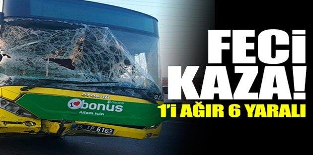Sultangazi'de İETT otobüsü minibüse çarptı: 6 yaralı