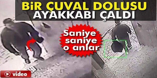 Sultangazi'deki hırsız, apartmandan çuvalla ayakkabı çaldı