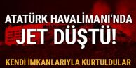 Atatürk Havalimanı'nda özel jet pistten çıktı