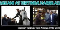 Bakanı at sırtında karşıladı