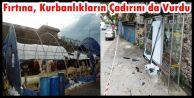 İstanbul'da fırtına,Sultangazi'deki kurbanlık çadırlarını uçurdu