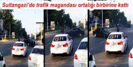 Sultangazi'de düğün konvoyunda ilerleyen trafik magandası ortalığı birbirine kattı.