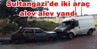 Sultangazi'de iki araç alev alev yandı