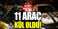 Sultangazi'de park halindeki 11 araç kundaklandı