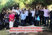 AK Gençlik, çevre temizliğine dikkat çekmek için çöp topladı