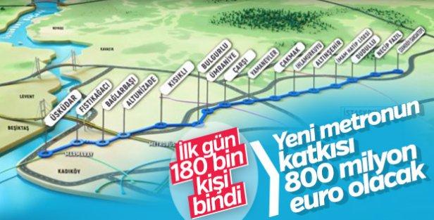 Yeni metro ilk gün 334 sefer yaptı