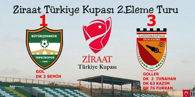 ZİRAT TÜRKİYE KUPASI'NDA GAZİOSMANPAŞASPOR 3.TURDA