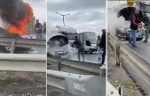 Gaziosmanpaşa'da yolda giden otomobil yandı!