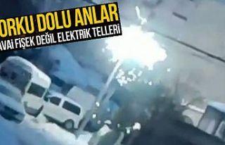Arnavutköy'de elektrik telleri havai fişek...