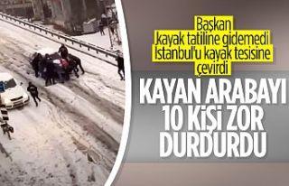 İstanbul'da yokuştan kayan aracı durdurma...