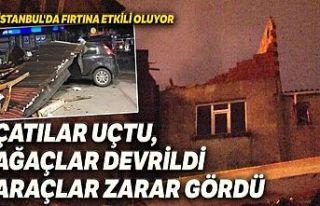 İstanbul'u fırtına vurdu: Çok sayıda evin çatısı...