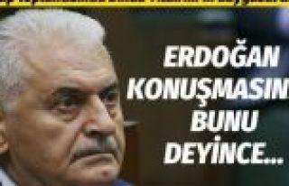 Erdoğan konuşurken Binali Yıldırım duygusal anlar...