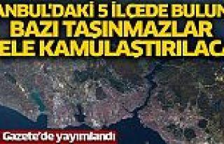 İstanbullular dikkat! 5 ilçede bazı taşınmazlar...