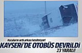 Kayseri'de otobüs devrildi: 23 yaralı