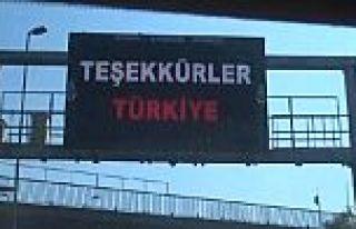 Trafik Yoğunluğu Levhasından Türkiye'ye Teşekkür