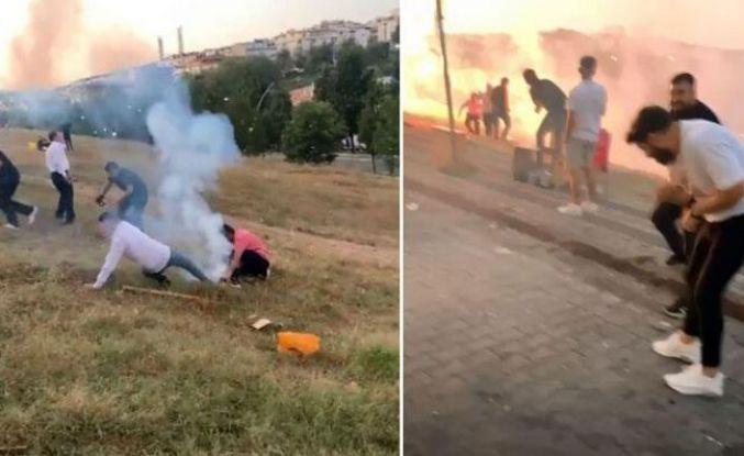 Sultangazi'de havai fişekler düğünde davetliler arasında patladı